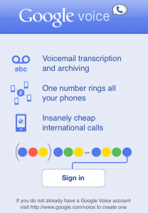 Google Voice for iOS Start Screen