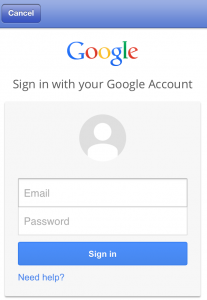 Google Voice for iOS Login Screen